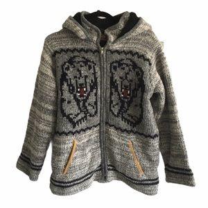 (SOLD) KYBER Wool Zip Cardigan Sweater Jacket Bears S